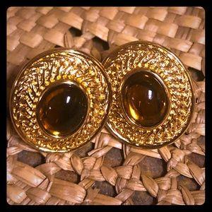 Monet gold & brown pierced earrings